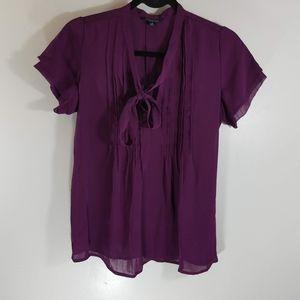 New Lands End Purple Tie Front Blouse